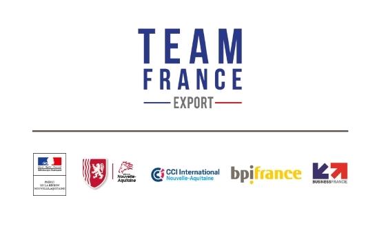 Logo de la Team France Export avec les logos des institutions françaises partenaires
