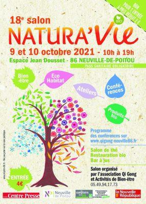 Flyer présentant le 18 éme salon Natura'Vie le 9 et 10 octobre 2021 à Neuville-De-Poitou dans le département du 86.